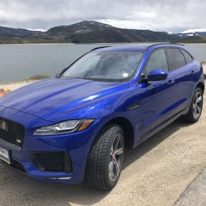 I like this view of the F Pace the best. It shows the sleek lines of the nose and headlights.